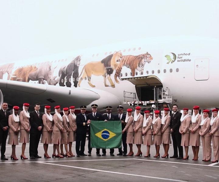 Lanzamiento del A380 de Emirates Airline en Brasil